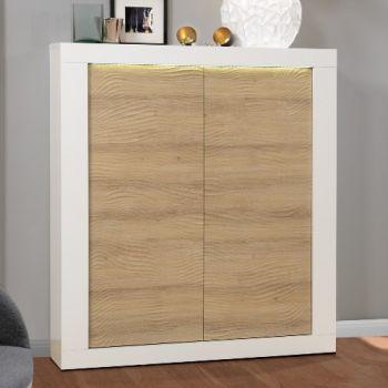 Vaisselier Kaia 121cm 2 portes - blanc brillant/chêne