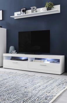Meuble TV Otis 160cm avec tablette murale & éclairage LED - blanc