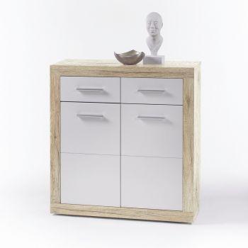 Commode Brekalo 82 cm avec 2 portes et 2 tiroirs - chêne san remo/blanc