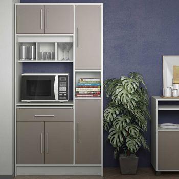 Armoire de cuisine Louise pour four à micro-ondes - blanc/gris taupe