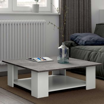 Table basse Square 67x67 - blanc/béton