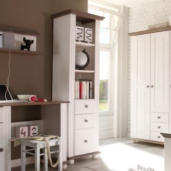 Bibliothèque Laurel avec 3 tiroirs - blanc/brun