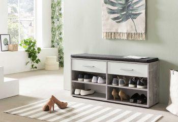 Armoire à chaussures Karin 2 tiroirs avec coussin - blanc / béton