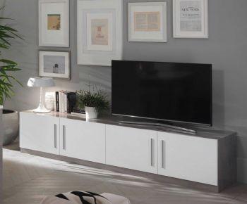 Meuble TV Greta 208 cm - béton/blanc