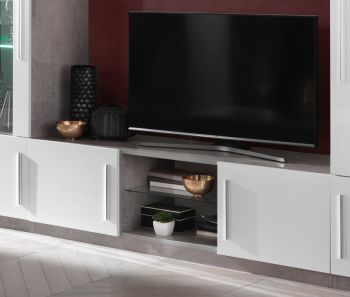 Meuble TV Greta 156 cm - béton/blanc
