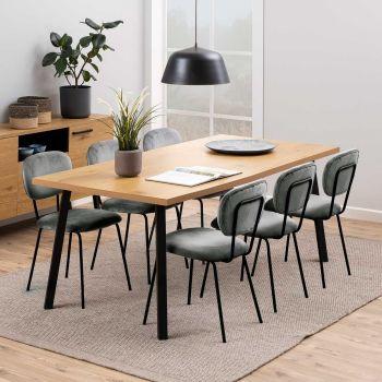 Table à manger Manon 190x90 - chêne/noir