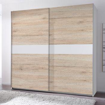 Armoire à vêtements 215cm avec 2 portes - chêne/blanc