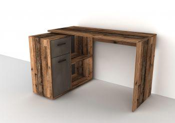 Bureau d'angle Albrecht 117cm - bois vieilli/acier