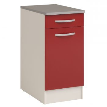 Meuble bas Oke 40x60 cm avec tiroir et porte - rouge