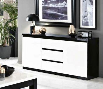 Bahut Roma 2 portes & 3 tiroirs - noir/blanc