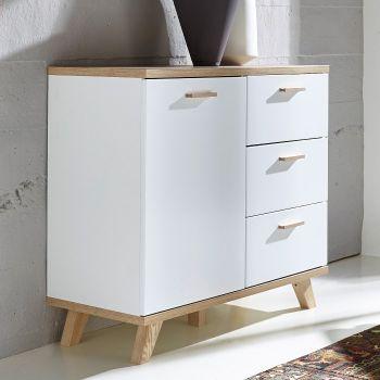 Commode Ousmane 96cm avec 1 porte & 3 tiroirs - blanc/chêne