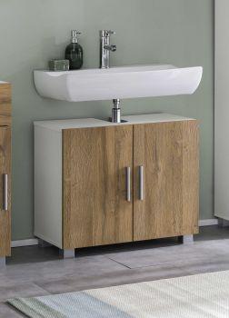 Meuble sous lavabo Casa - blanc/chêne vieilli