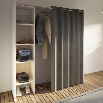 Armoire Spike 123/160cm avec rideau - blanc/taupe