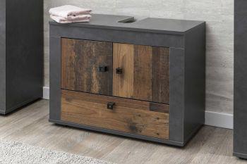 Meuble sous lavabo Rutger 3 portes - bois/graphite
