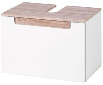 Élément lavabo Siena 60cm - blanc/brun