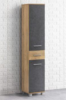 Colonne salle de bains Kao 1 tiroir & 2 portes - chêne vieilli/gris graphite