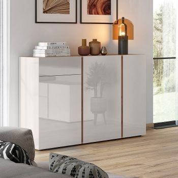 Bahut Mussa 3 portes & 1 tiroir 152cm - chêne/cachemire