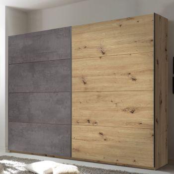 Armoire à vêtements Paslack 240cm avec 2 portes - vieux chêne/béton