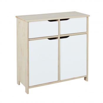 Commode Eidur 80cm à 2 portes & 2 tiroirs - nature/blanc