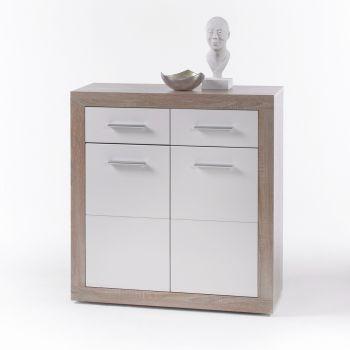 Commode Brekalo 82 cm avec 2 portes et 2 tiroirs - chêne sonoma/blanc