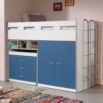 Lit mi-hauteur Bonny 70 avec bureau, commode et armoire - bleu