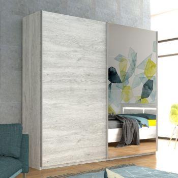 Garde-robe Neal 230cm avec portes coulissantes - chêne gris