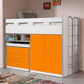 Lit mi-hauteur Bonny 70 avec bureau, commode et armoire - orange