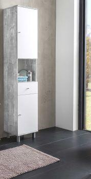 Colonne de salle de bains Benja 2 portes & 1 tiroir - blanc/béton