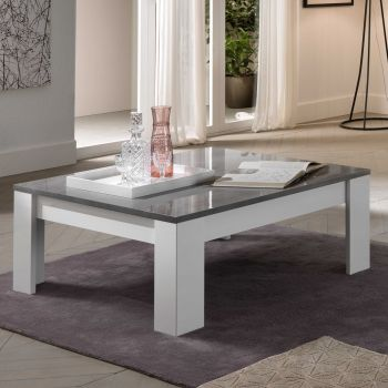 Table basse Modena 126x67 - blanc/béton