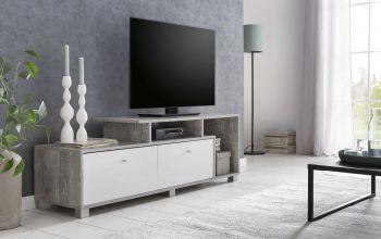 Meuble TV Marly 140cm - blanc/béton