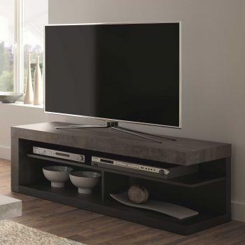 Meuble TV Delta 130cm - béton/noir