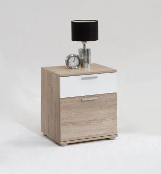 Table de chevet Jack à 2 tiroirs - chêne brun/blanc