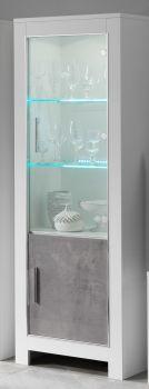 Vitrine Modena 2 portes - blanc/béton
