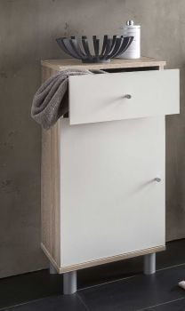 Armoire de salle de bains Benja 1 porte & 1 tiroir - blanc/chêne