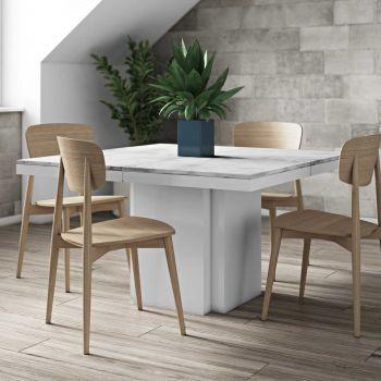 Table à manger Dusk 130x130 - marbre blanc