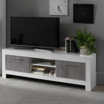 Meuble TV Modena 160 cm - blanc/béton
