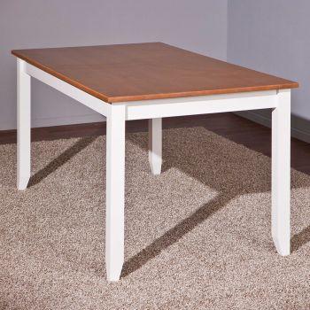 Table à manger Westerland 160x90cm rurale - blanc/brun
