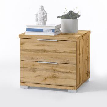 Table de chevet Nacho 46cm avec 2 tiroirs - chêne sauvage