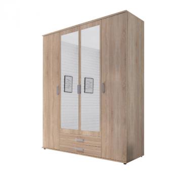 Armoire à vêtements Semina 160cm à 4 portes & 2 tiroirs - chêne