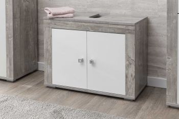 Meuble sous lavabo Rutger 2 portes - blanc/béton