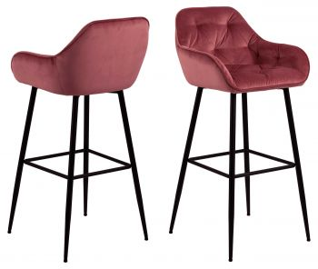 Lot de 2 chaises de bar Bridget - corail/noir