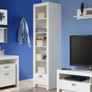 Bibliothèque Arkea avec 1 tiroir - blanc