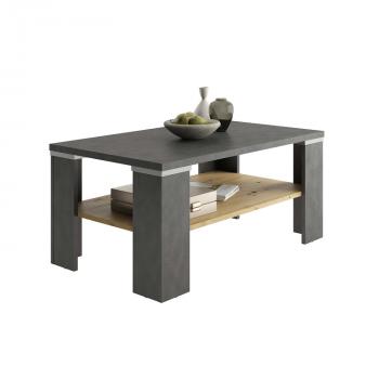 Table basse Bastille 100x60 avec étagère - anthracite/chêne vieilli