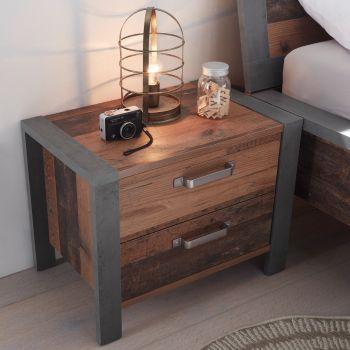 Table de chevet Hamsik 60cm avec 2 tiroirs - vieux style/béton