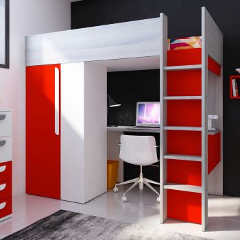 Lit mezzanine Beau avec bureau et armoire - rouge