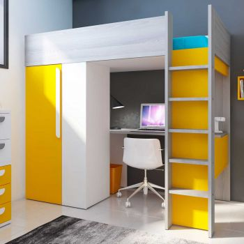 Lit mezzanine Beau avec bureau et armoire - jaune