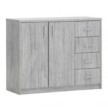 Commode Spacio 2 portes & 4 tiroirs H 84cm - chêne gris