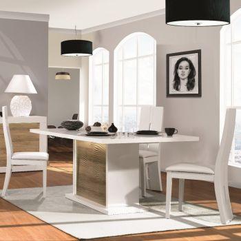 Table à manger extensible Kaia 180/225x100 - blanc brillant/chêne