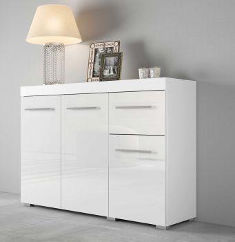Bahut Tristan 3 portes & 1 tiroir - blanc brillant