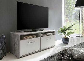 Meuble TV Sami 2 portes 95cm - blanc/béton